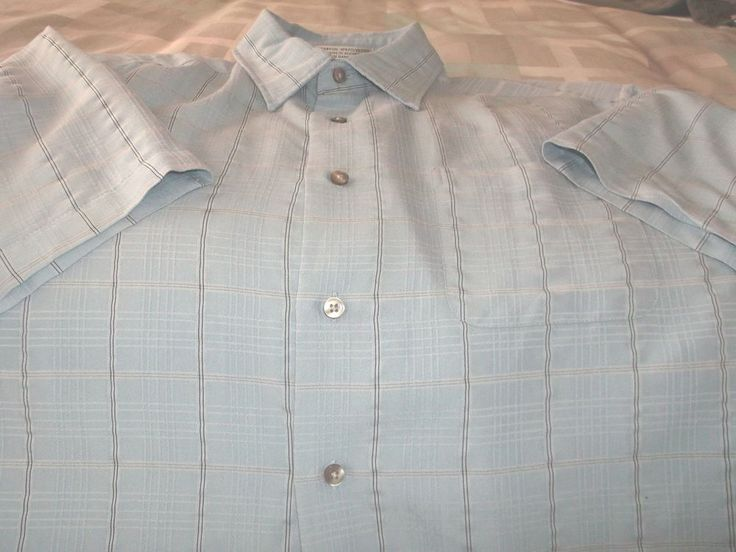 Men's Geoffrey Beene Shirt Muted Plaid Size L/G 16-16 1/2 Blue Plaid Button #DavidTaylor #ButtonFront