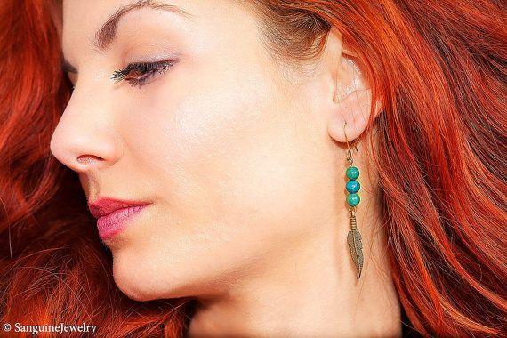 Boho earrings bronze feather earrings agate by SanguineJewelry