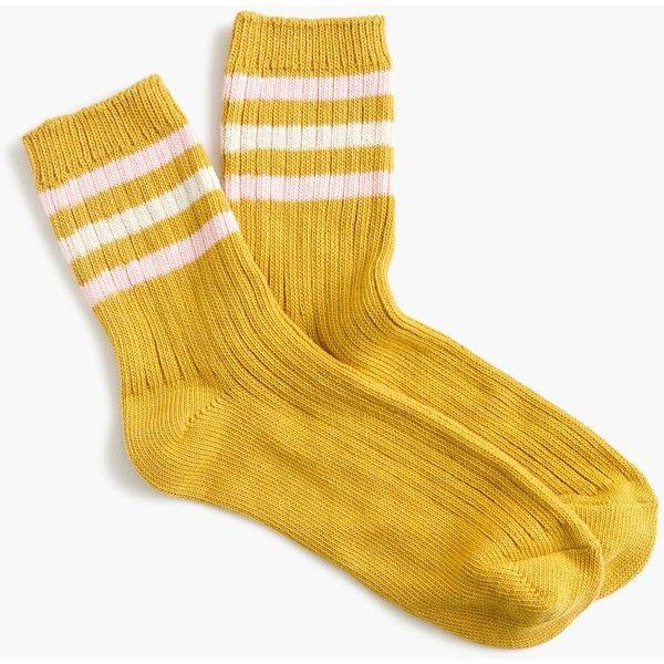 J.Crew Ankle Boot Sock ($17) ❤ liked on Polyvore featuring intimates, hosiery, socks, stripe socks, vintage hosiery, striped socks, polka dot socks and dot socks