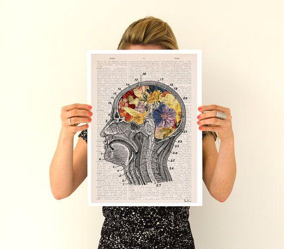 Bloemrijke hersenen Poster A3 poster anatomische kunst door PRRINT