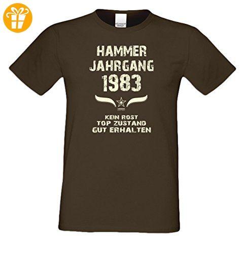 Zum 34. Geburtstag - Fun-T-Shirt Mega Cooles Männer-Oberteil als Geschenk mit Gratis Urkunde Hammer Jahrgang 1983 Farbe: braun Gr: 3XL (*Partner-Link)