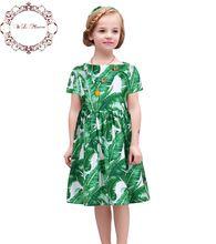 Wlmonsoon Dziewczyny Sukienki Letnie 2016 Bawełna Dziewczyny Liść Sukienka Suknia Balowa Sukienka Dzieci z Liści Bananów Drukowane Christmas Ubrania(China (Mainland))