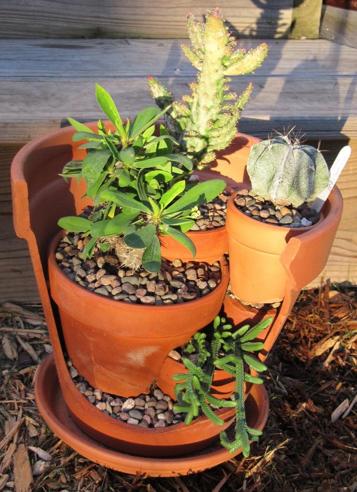 Upcycled Broken Pot Cactus/ Succulent Garden -great idea!
