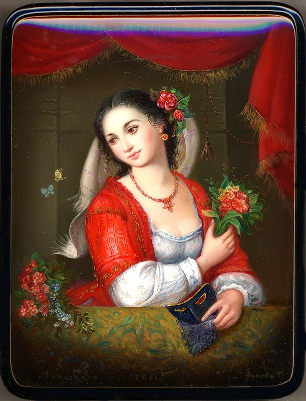 """Russian LACQUER BOX ART - """"Girl with a Mask"""" by Frolova Tatiana."""