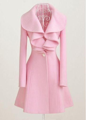 Pink Long Sleeve Turndown Collar Wool Coat