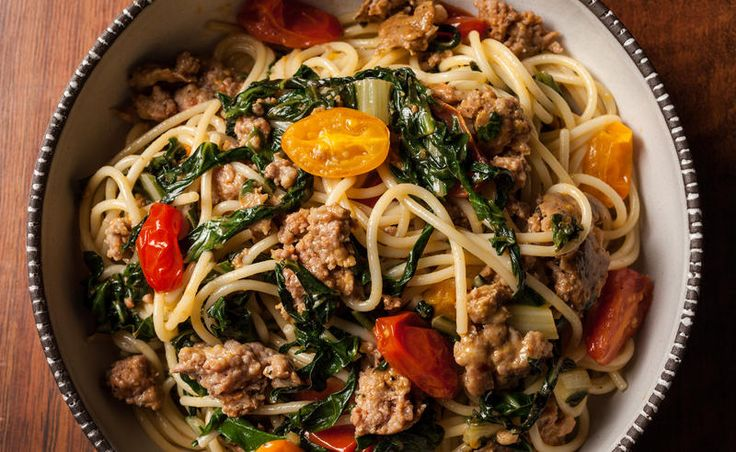 The Best Spaghetti Recipes - Spaghetti with Sausage, Swiss Chard, and Cherry Tomatoes - CHOW.com