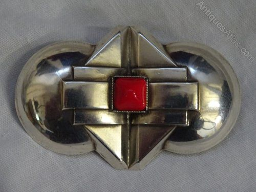 French Art Deco White Metal Brooch.