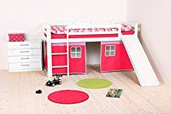 Flexa Loft Slide Bed with Curtains – Twin – White Wash – Pink