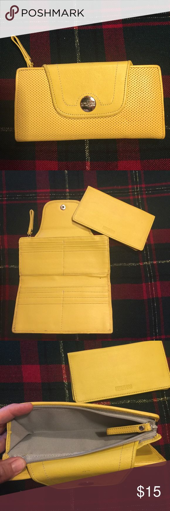 Kenneth Cole Reaction yellow leather wallet Kenneth Cole Reaction yellow leather wallet with leather check holder.  Gently used in good condition. kenneth Cole Reaction Bags Wallets