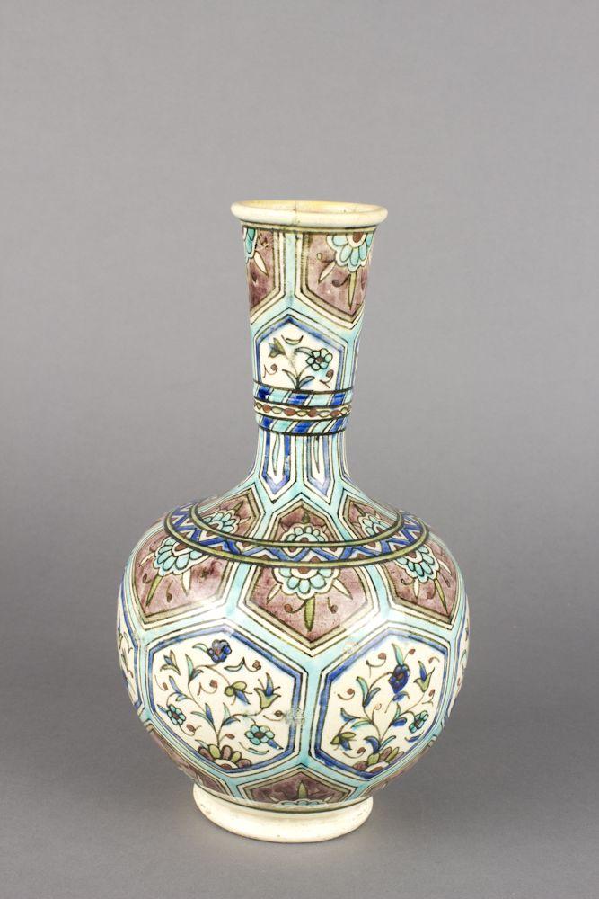 Turkey, Kütahya province, Kütahya kilns (Turkish), Vase with hexagonal floral medallion designs, late 19th century, stonepaste with polychrome decoration under clear glaze