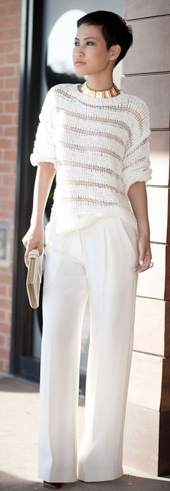 Forever 21 ivory sweater, Jenni Kayne wide leg pants, Alexander McQueen clutch...Great look for us petite girls we too can rock wide pants