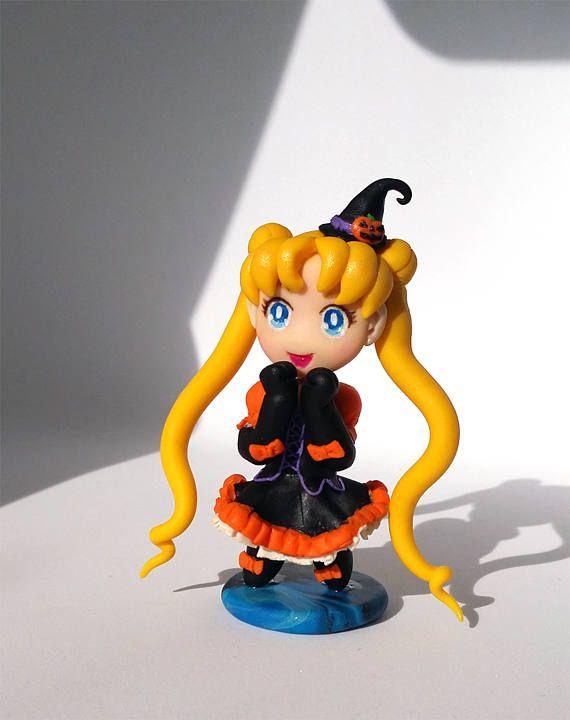 Halloween Usagi Sailor Moon polymer clay figure