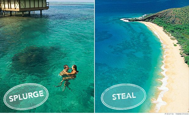 Tahiti vs. Hawaii. Which one is the honeymoon steal and which one is the splurge? Find out from Expedia and The Knot.