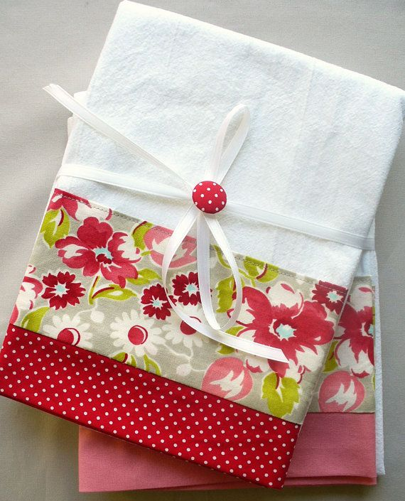 Kitchen towels with red and gray floral by SeamlessExpressions
