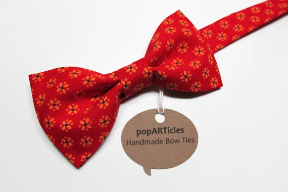 Red Floral Bow Tie - Red Bow Tie - Crimson Bow Tie - Scarlet Bow Tie  - 10% off with promo code PIN10 - #popARTicles #redbowtie #redfloralbowtie #blockprint