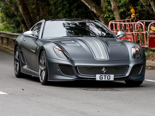 mattte gray Ferrari 599 GTO. My ultimate dream car. The F12 is nice but there is just something about this car.