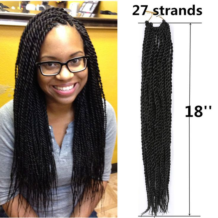 "18"" Kanekalon Small Senegalese Braid Twist Crochet Long Synthetic Hair Extension"