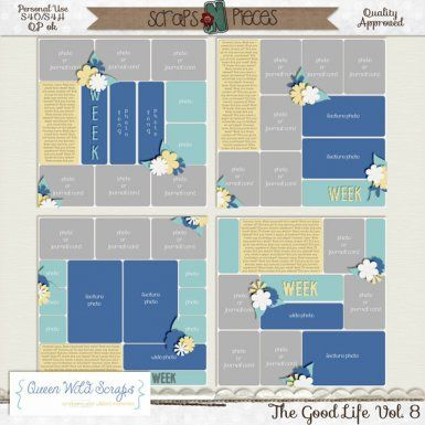 The Good Life Templates Vol. 8 by Queen Wild Scraps. Perfect for Project Life