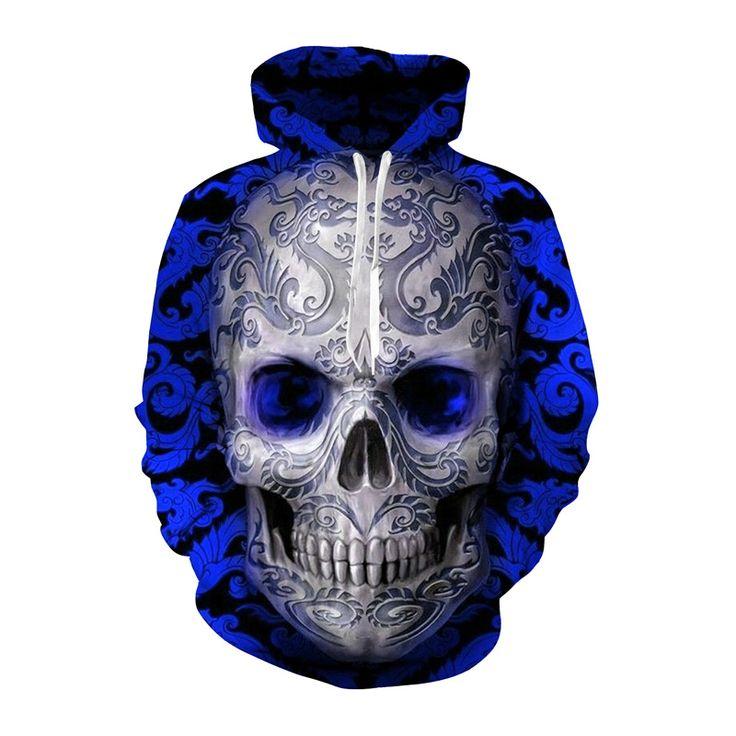 Hip Hop Blue Skull 3D Printed Hoodie //Price: $37.45 & FREE Shipping //     3dsweatshirt