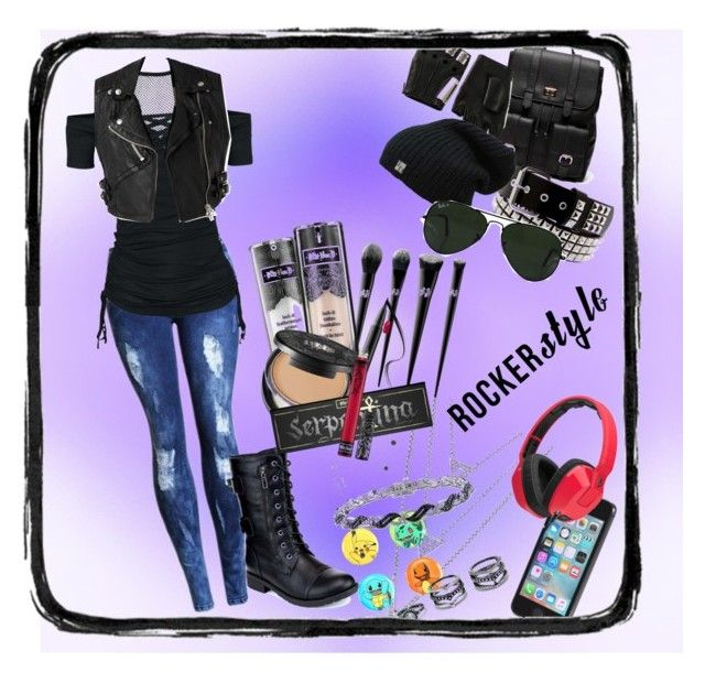 Rocker Style by eppiblack on Polyvore featuring polyvore мода style Refresh Sole Society Ice LULUS Loungefly Majesty Black Ray-Ban Skullcandy Kat Von D Burberry fashion clothing