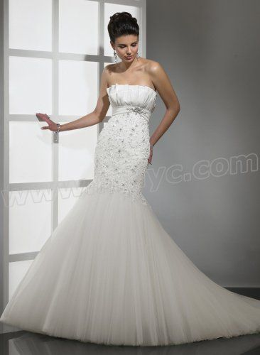 Bordeax and Embellished Lace Strapless Scalloped Neckline Mermaid Wedding Dress