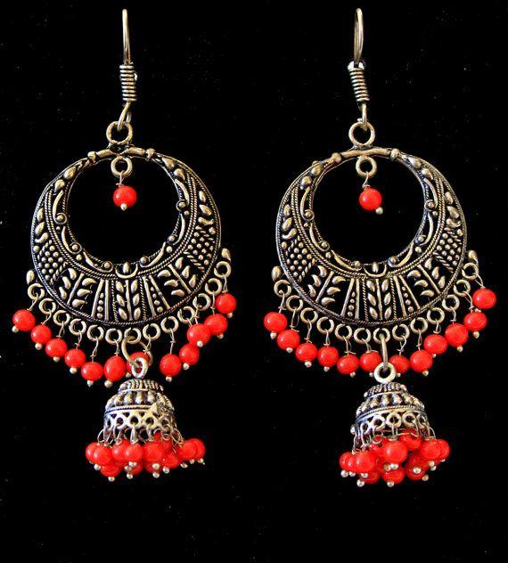 Chandelier Earrings Indian Jewelry Jhumka Earrings Red Earrings Party Earrings Bridesmaid Earrings Chunky Earrings - $ 16.00