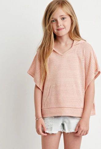 Hooded Open-Knit Poncho (Kids) | Forever 21 girls | #f21kids