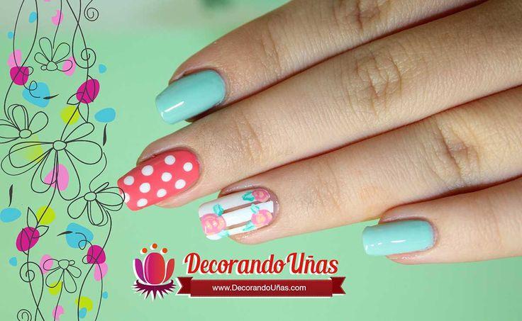 Uñas decoradas con puntos y flores – Video tutorial | Decoración de Uñas - Manicura y Nail Art