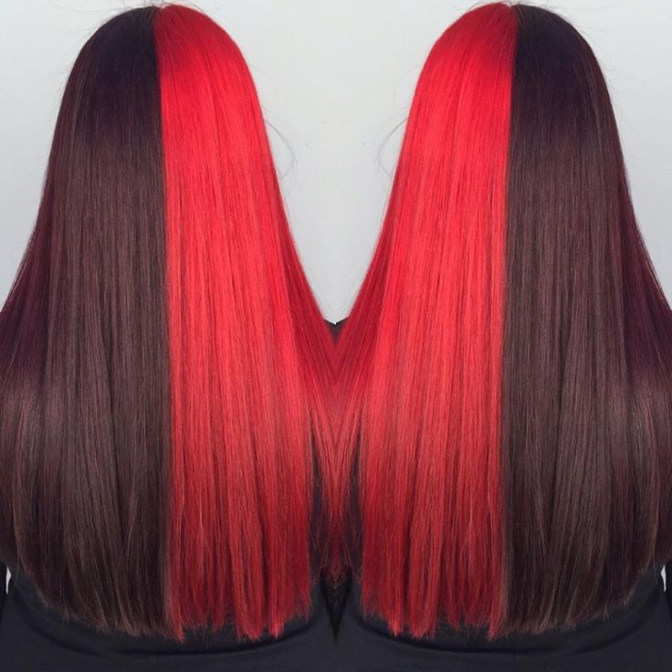 Two toned hair color in black cherry and red created by Grace