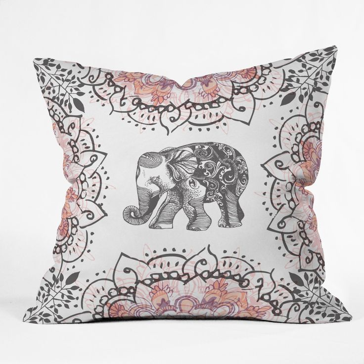 Pretty Little Elephant Throw Pillow Rosebudstudio