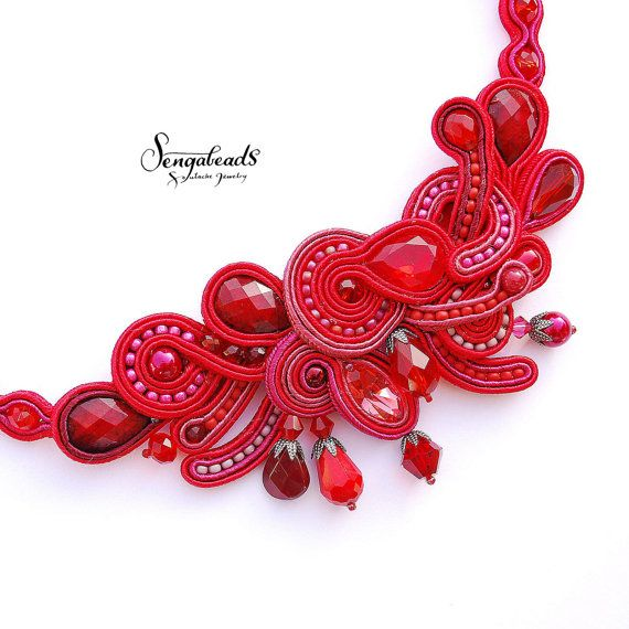 Hand embroidered soutache necklace. Soutache by Sengabeads on Etsy