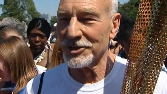 Sir Patrick Stewart carries Olympic torch through Croydon: 'I'll never forget carrying the Olympic Torch'