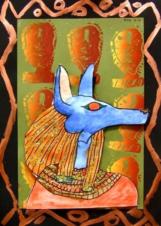 Ancient Egyptian Profile  I like the metallic paint rather than the tooling foil I have used in the past.