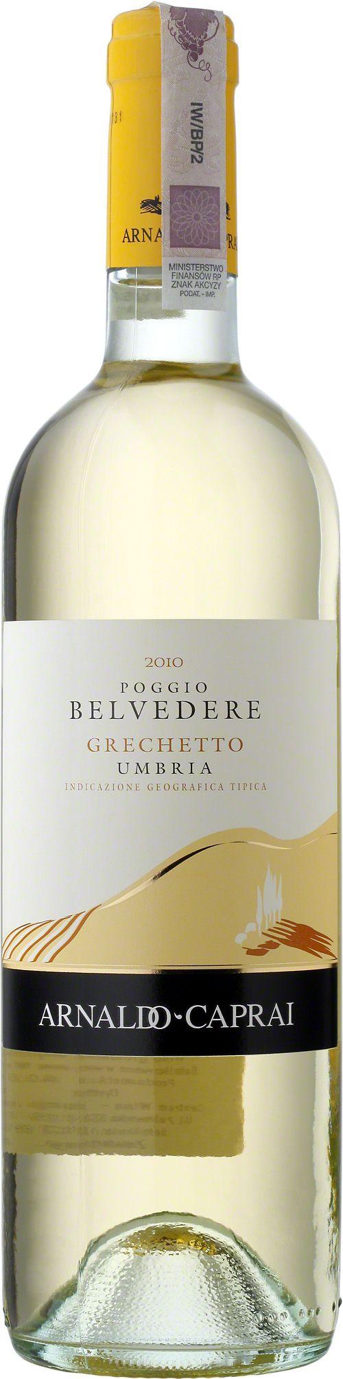 Poggio Belvedere Grechetto Bianco Umbria I.G.T. Wino o kolorze żółtej słomy z zielonymi zabarwieniami. Wyczuwalne owoce, co daje wyjątkowy delikatny aromat oraz świeży smak z nutą kwasowości. #Poggio #Belvedere #Grechetto #Bianco #Umbria #Włochy #Wino #Winezja #ArnaldoCaprai