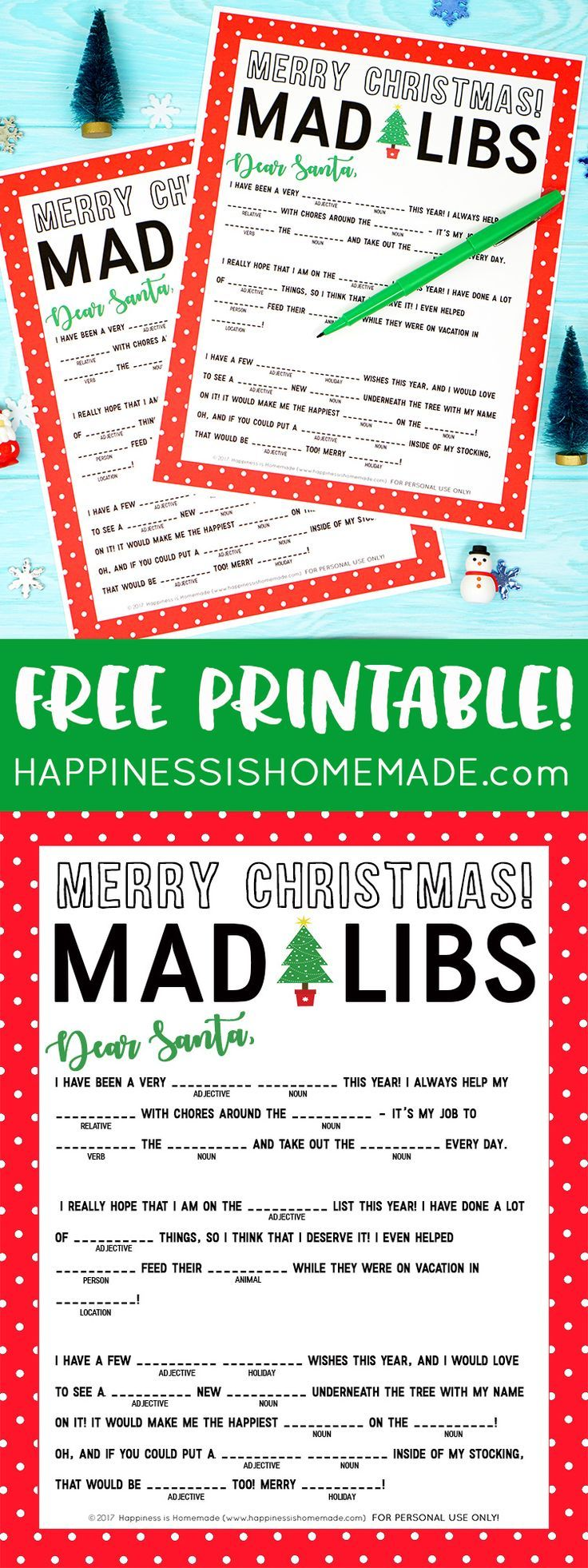 This fun Christmas Mad Libs printable is perfect for kids of all ages (and grown-ups, too!)! Great for parents, teachers, classroom moms, Scout leaders, and more! via @hiHomemadeBlog