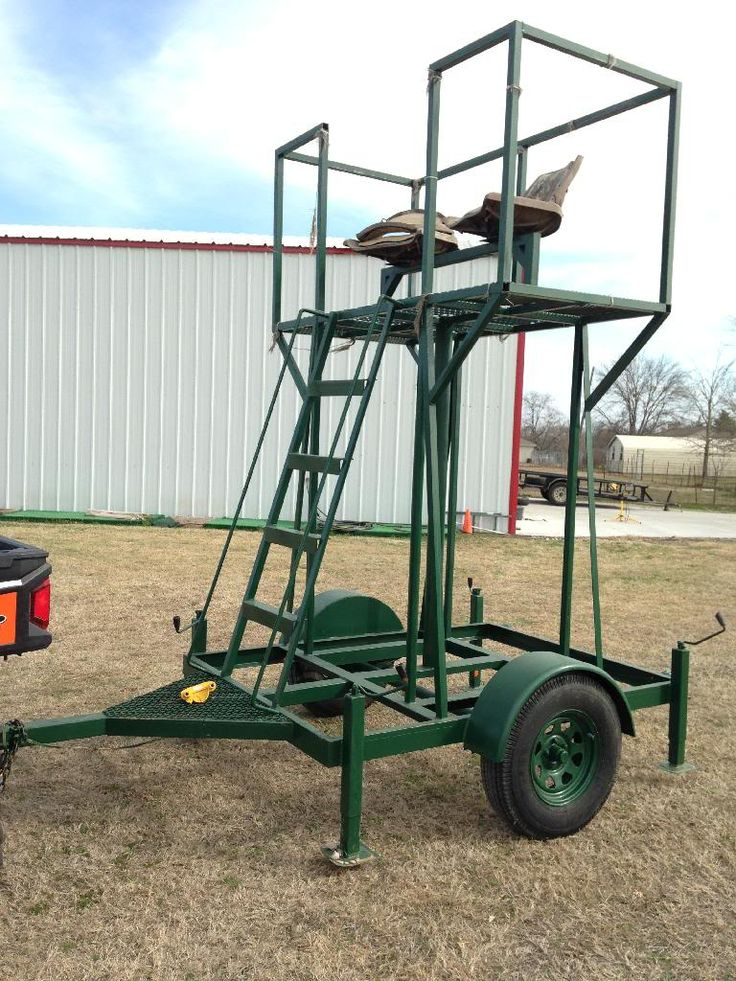 """Mobile hunting stand!!! Very unique! From tongue to back of the trailer it's 11', the base frame of trailer is 7'x5', plus the fenders, so about 6' wide. The stand area is 3'x6'x40"""". From the ground to the floor of the stand is 8'. 4 heavy duty stabilizing jacks, one at each corne…"""