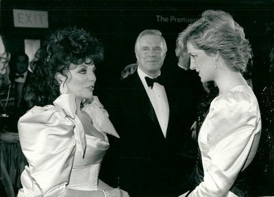 Princess Diana chatting to Joan Collins during the Premier 84 Charing Cross Road on the 23rd March 1987