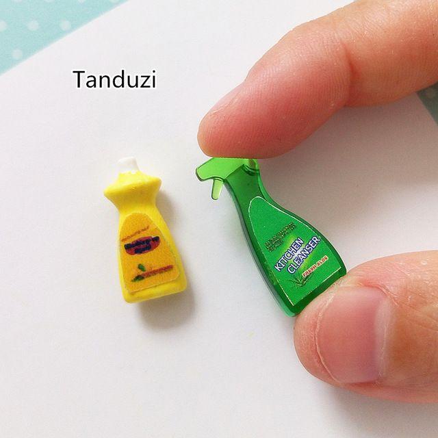 Tanduzi Детей Подарок Ребенку Игрушка 1:12 Dollhouse Кухня Моющие Средства Мини Кухня Чистящее средство Миниатюрный Моющие средства