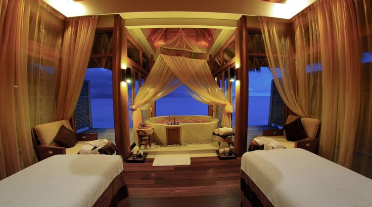 A room at the luxury Dhigu resort in the Maldives.