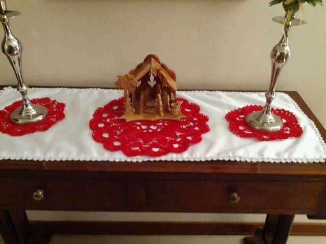 Red crochet doilies