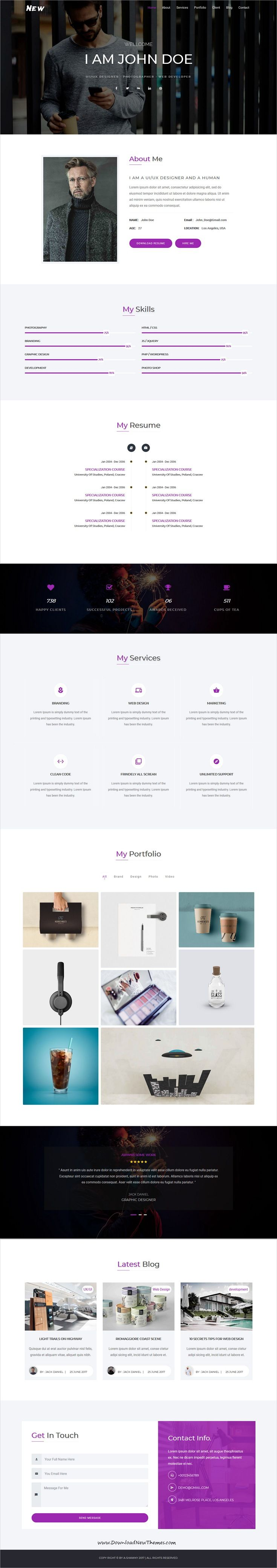 New - One Page Portfolio Template