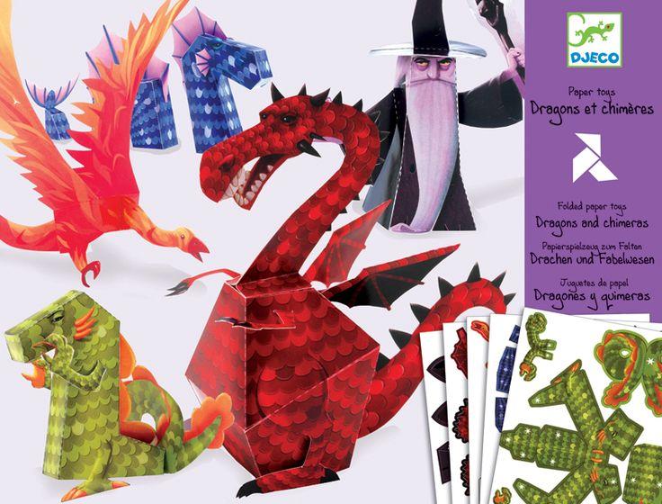 Sárkányok és mesebeli lények- kreatív papírhajtogatós készlet (Djeco) | Pandatanoda.hu Játék webáruház