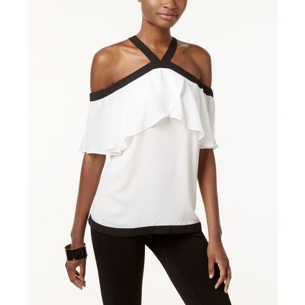 Inc International Concepts Cold-Shoulder Halter Top, ($70) ❤ liked on Polyvore featuring tops, washed white, open shoulder top, inc international concepts, halter neck tops, white cut out shoulder top and halter-neck tops