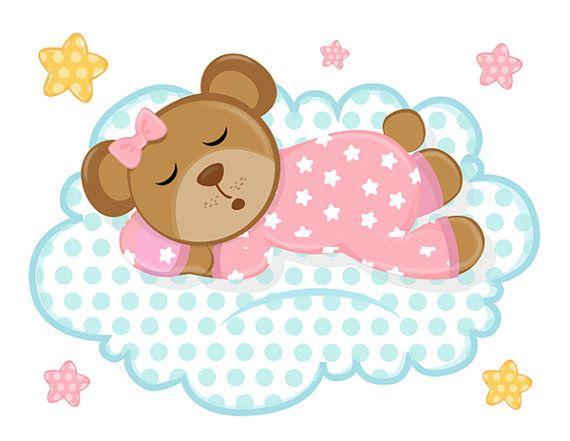 Sleepy Pink Teddy Bear Wall Mural Decal For Baby Girl