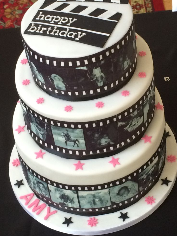 Film Reel Style Cake 3 Tiers Of Chocolate Mud Cake Covered
