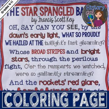 Great For Morning Work Or Early Finishers This Coloring Page Contains The First Stanza