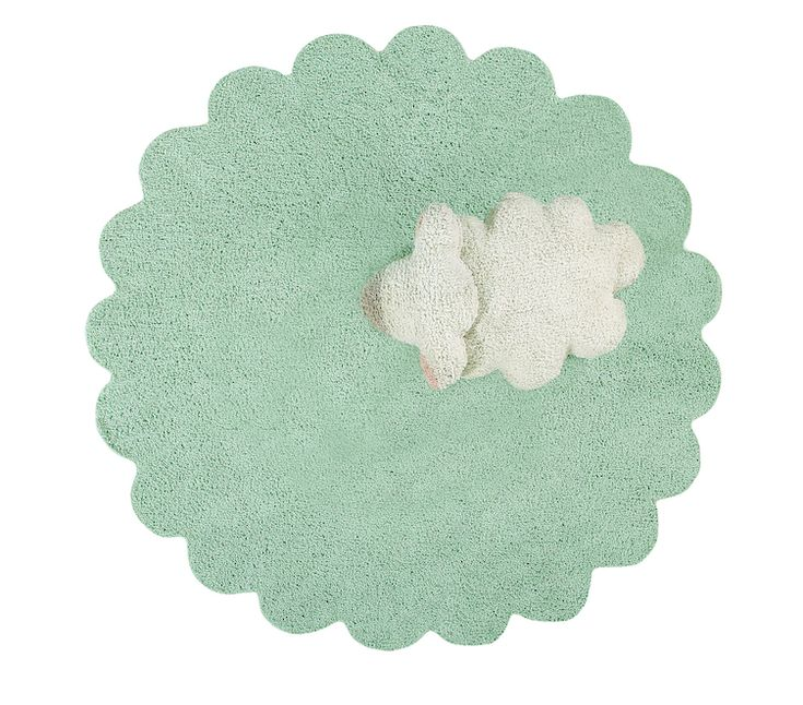 Tappeto lavabile in cotone con cuscino pecorella
