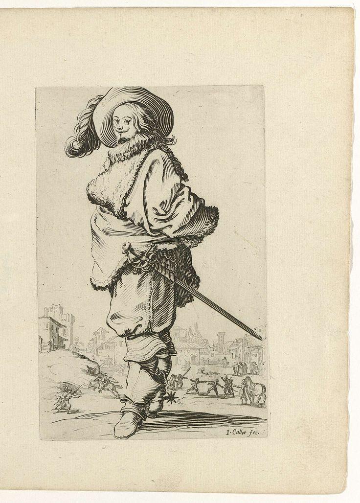 Edelman in met degen en laarzen met sporen, naar links, Jacques Callot, 1624