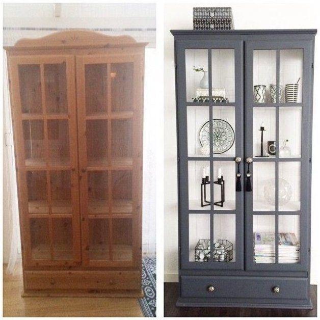 Ancien Meuble En Pin Peint Gris Et Blanc Alter Pine Cabinet Peint Alter Grey En 2020 Renovation Meuble Relooking Meuble Relooking De Mobilier