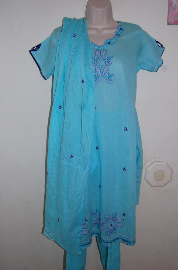Baby Blue Embroidered Salwar Kameez Shalwar by IvithjasCreations, $18.00